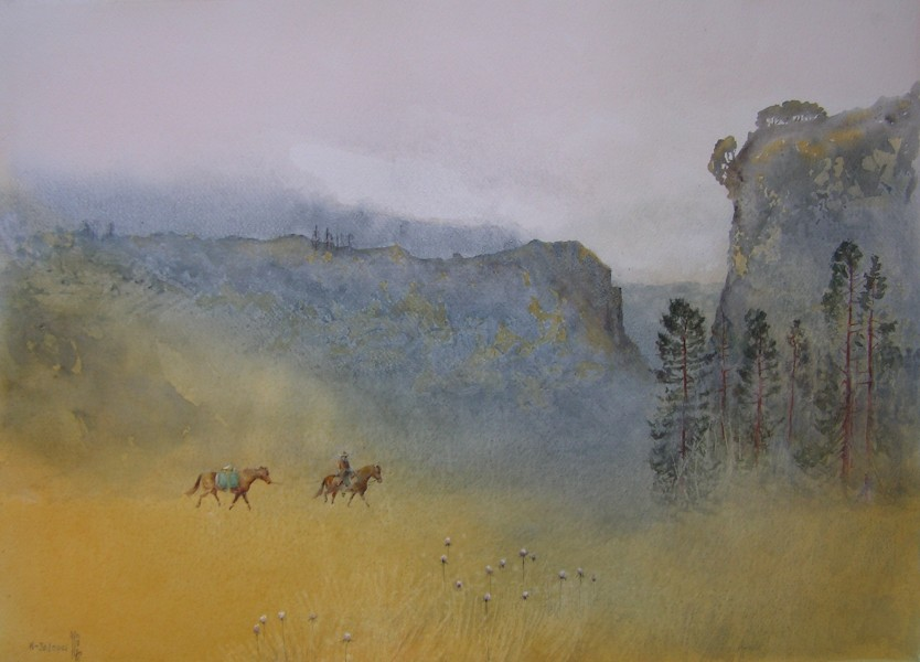 Jajouei,Hossein,Solitude,22x30inch,watercolor