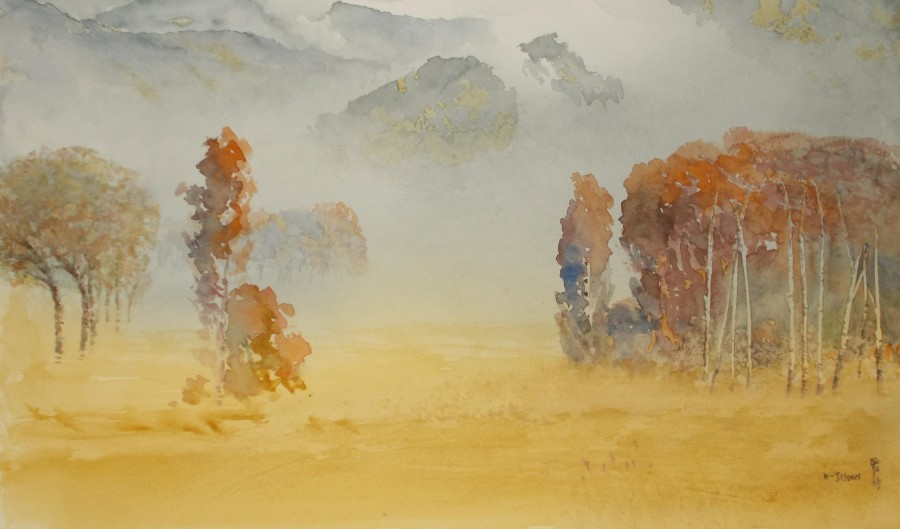 Jajouei Hossein ,Fall season, 18 x 24 inches ,Watercolor