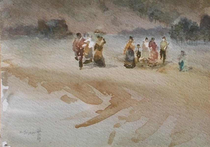 Jajouei Hossein , workers, 10 x 14 inched watercolor